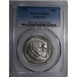 1924 HUGUENOT COMMEM HALF DOLLAR PCGS MS-64