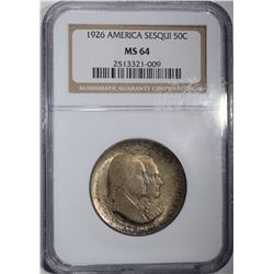 1926 SESQUI COMMEM HALF DOLLAR NGC MS-64