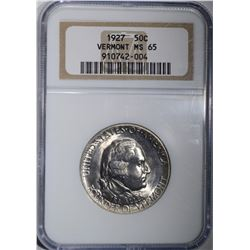 1927 VERMONT COMMEM HALF DOLLAR NGC MS-65