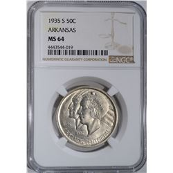 1935-S ARKANSAS COMMEM HALF DOLLAR NGC MS-64