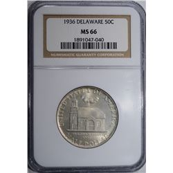 1936 DELAWARE COMMEM HALF DOLLAR NGC MS-66