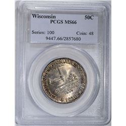 1936 WISCONSIN COMMEM HALF DOLLAR PCGS MS-66