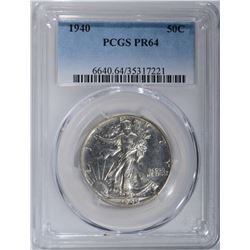 1940 WALKING LIBERTY HALF DOLLAR PCGS PR-64