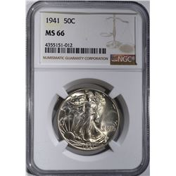 1941 WALKING LIBERTY HALF DOLLAR NGC MS-66