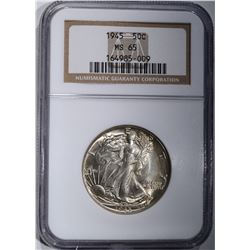 1945 WALKING LIBERTY HALF DOLLAR NGC MS-65