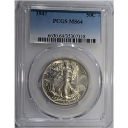 1947 WALKING LIBERTY HALF DOLLAR PCGS MS-64