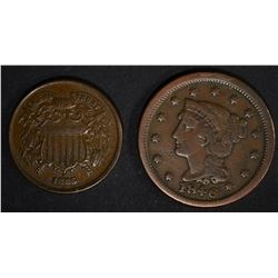 1865 TWO CENT XF & 1846 LARGE CENT VF