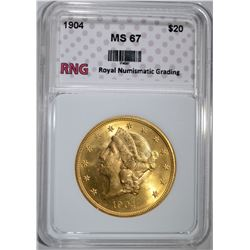 1904 $20.00 GOLD LIBERTY RNG SUPERB GEM