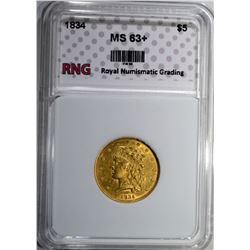 1834 $5.00 GOLD RNG CH BU+