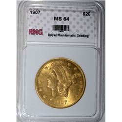 1907 $20 GOLD LIBERTY HEAD RNG CH BU