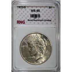 1922-S PEACE DOLLAR RNG GEM BU