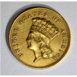 1857-S $3.00 GOLD  RARE, AU/UNC