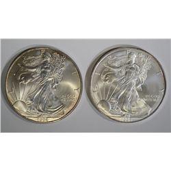 2-BU 1996 AMERICAN SILVER EAGLES