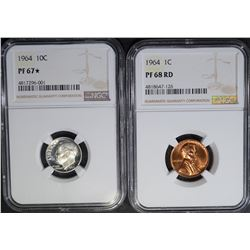 1964 LINCOLN CENT NGC PF68RD & 1964