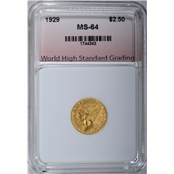 1929 $2.50 GOLD INDIAN, WHSG CH/GEM BU