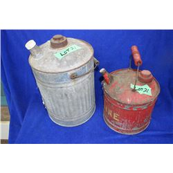 2 Old Metal Gas Cans