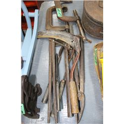 Flat of Blacksmith Tools; 2 Clamps & a Small Hand Scythe