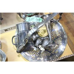 Silver Plate Basket & Misc. Items