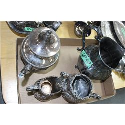 Silver Plate Water Jug, Teapot, Cream & Sugar
