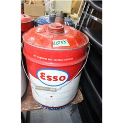 Esso Imperial Oil 5 Gallon Can with Spout and Both Lids