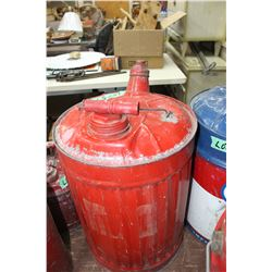 Painted Galvanized 5 Gallon Gas Can with Spout and Both Lids