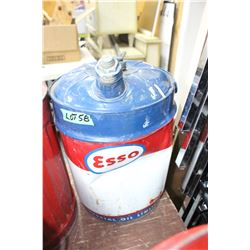 Esso Imperial Oil 5 Gallon Tin with Spout and Both Lids