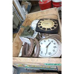 B.C. Fruit Box, 3 Clocks, Paper Punch and Horse Shoes
