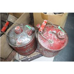 2 Small One Gallon Gas Cans with Spouts and All of the Lids