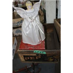 California Grape Wooden Box & a Christmas Angel Tree Topper