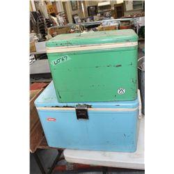 2 Vintage Picnic Coolers