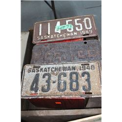 1948, 1949 & 1952 Saskatchewan License Plates