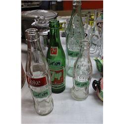 Pepsi, Coke and 7 Up Bottles