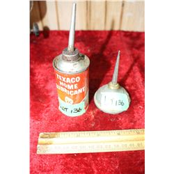 2 Small Oiler Tins - 1 is Texaco Home Lube