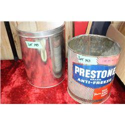 Prestone Antifreeze Tin and a Plain Tin