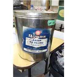 Bowes Raisin Pie Filling Pail - 28 lb.