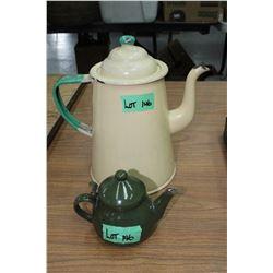 Enamel Coffee Pot and a Creamer