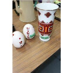 Ukrainian Design Salt & Pepper Shakers and a Vase