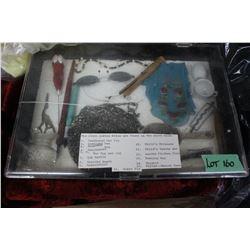 Plastic Showcase with Numerous Antique pieces