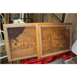 2 Carved Wooden Wall Hangings