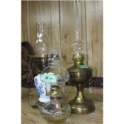 2 Oil Lamps & 1 Electric Lamp