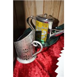 Painted Fry Pan & Olive Oil Dispenser