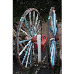 2 Wooden Spoke Buggy Wheels - Mounted on Stands
