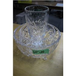 2 Crystal Bowls with Feet & 1 Vase