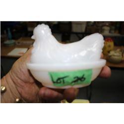 Small Milk Glass Hen on a Nest