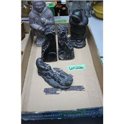 Flat of Carved Soapstone Bookends & Eskimo Carved Figurines