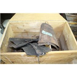 Wooden Box w/2 prs. Of Boot Riding Chaps & Set of Hobbles