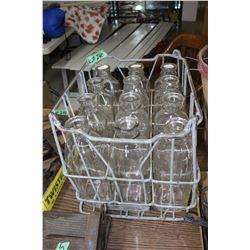 12 Square Milk Bottles in a Milk Crate