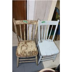 2 Old Wooden Chairs