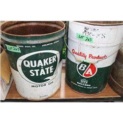 Quaker State Oil Pail & a B/A Oil Pail
