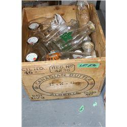 Butter Box Full of Milk & Cream Bottles - Some Embossed Names & Print Names